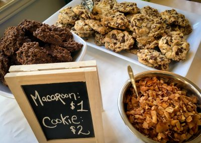 Tasty macaroons and chocolate chip cookies; and coconut bacon to sprinkle on the pizza