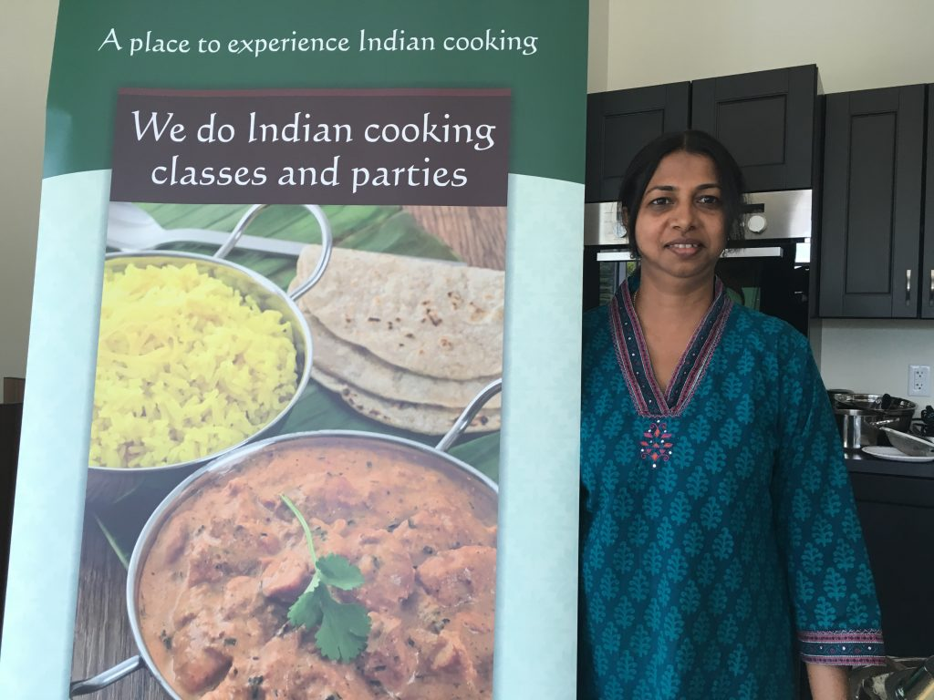 Our instructor Chitra, of Krisha Indian Cooking School