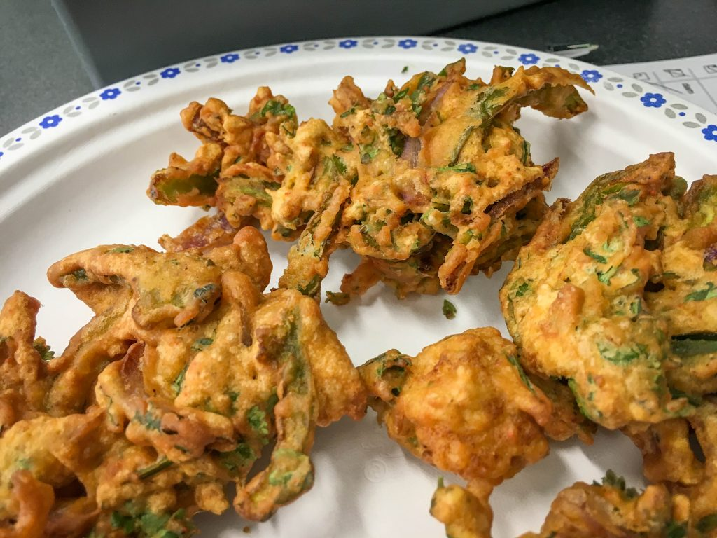 Pakoras ready to be sampled by participants.