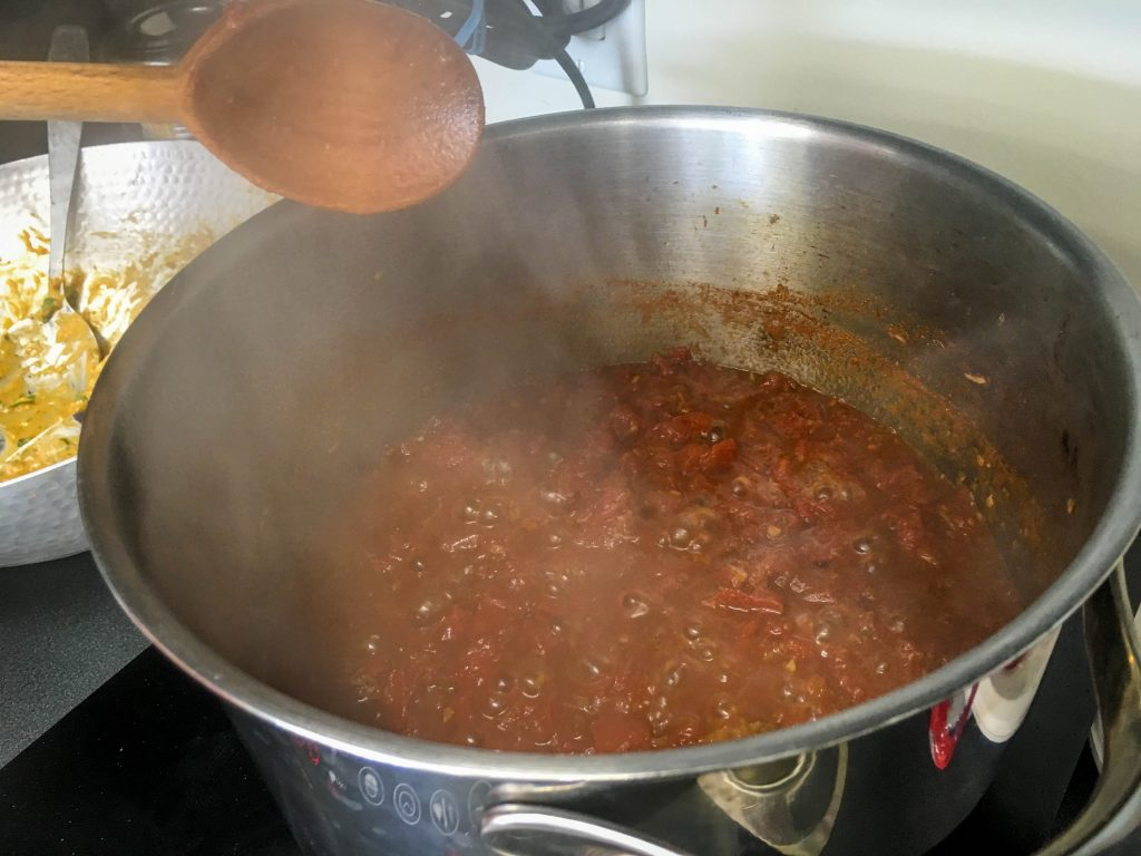 The chutney after simmering